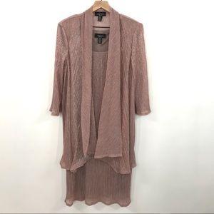 R&M Richards   Metallic Rose Pink 2 Piece Dress